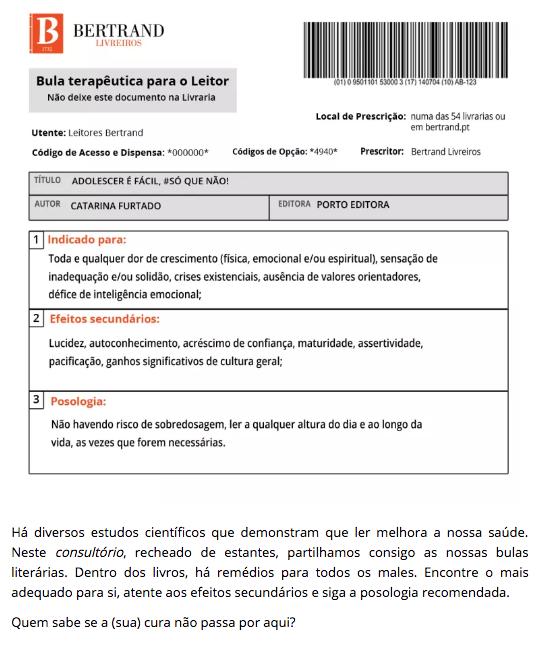 A Biblioterapeuta - Bertrand Livreiros - Bula - Adolescer é fácil - Catarina Furtado